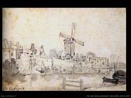 Van Den Eeckhout Gerbrand Mura della città di Delft con il mulino chiamato La Rosa