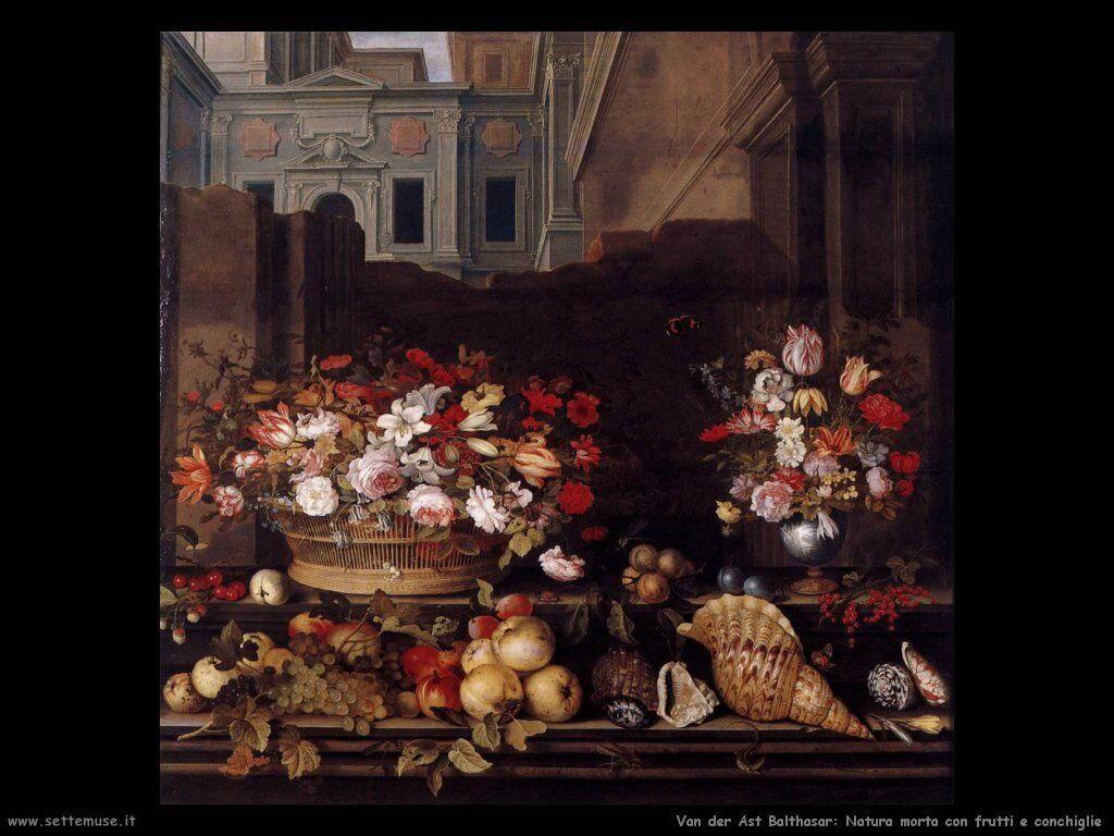 Natura Morta con fiori, frutta e conchiglie Van Der Ast Balthasar