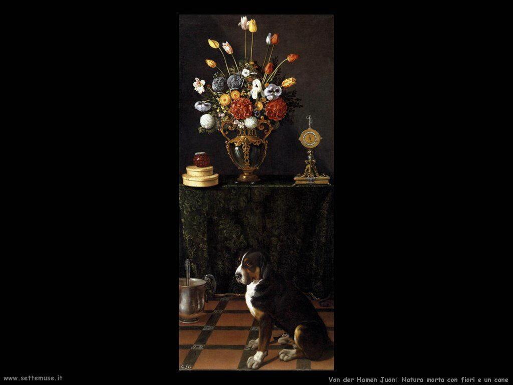 Van der Hamen Juan Natura morta con fiori e cane