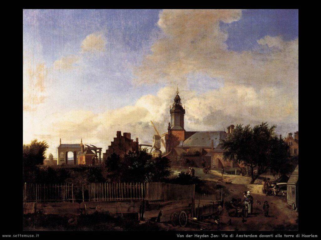 Strada di Amsterdam davanti alla torre di Haarlem Van Der Heyden Jan