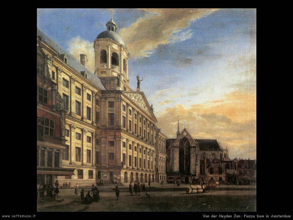 Piazza Dam di Amsterdam con il municipio Van Der Heyden Jan