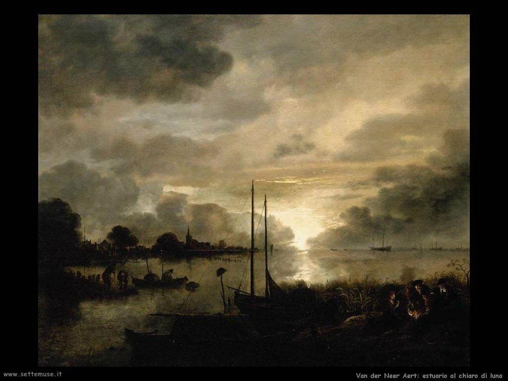 Van der Neer Aert Estuario al chiaro di luna
