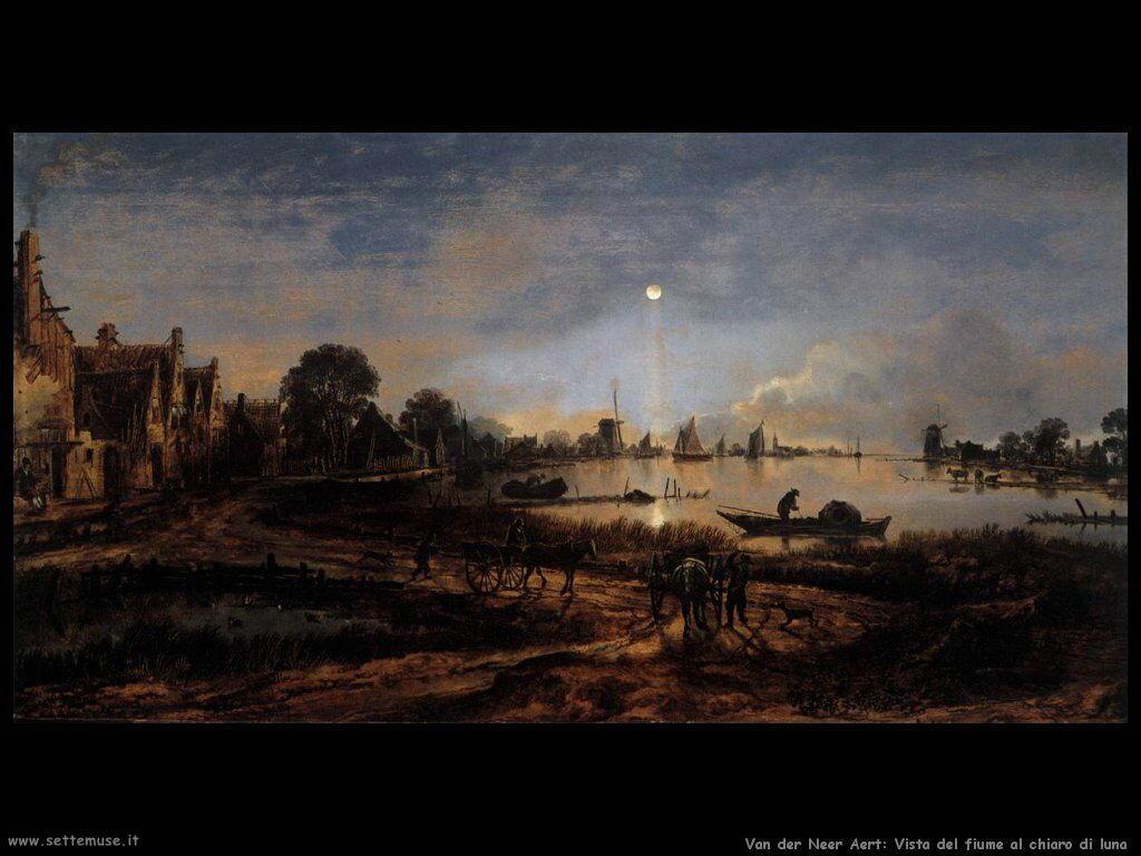 Van der Neer Aert Vista dal fiume al chiaro di luna