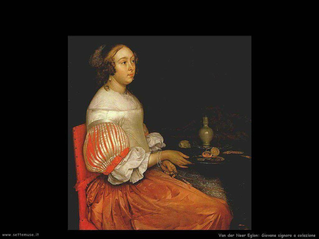 Giovane signora a colazione Van der Neer Eglon