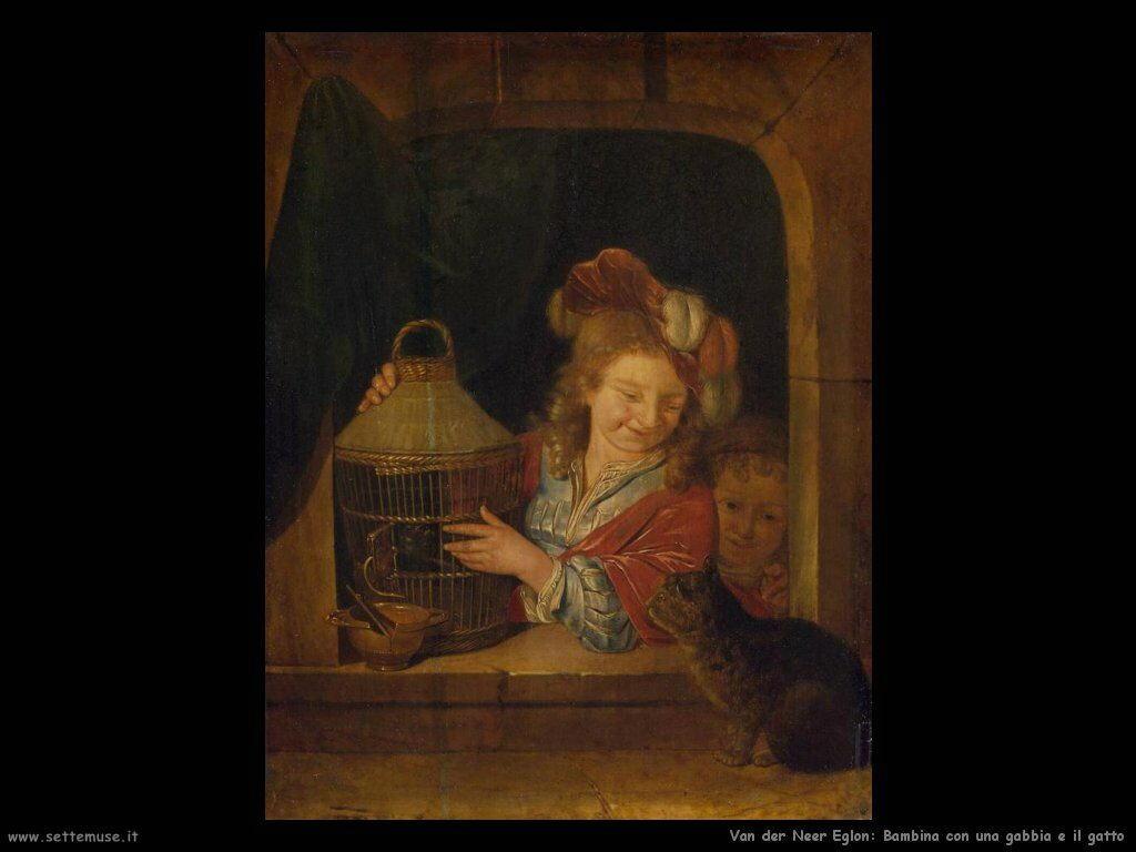 Bambino con gabbia e gatto Van der Neer Eglon