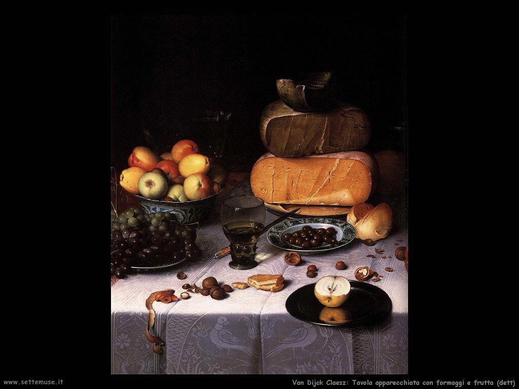 Van Dijck Floris Claesz Natura morta sul tavolo con formaggio e frutta dettaglio
