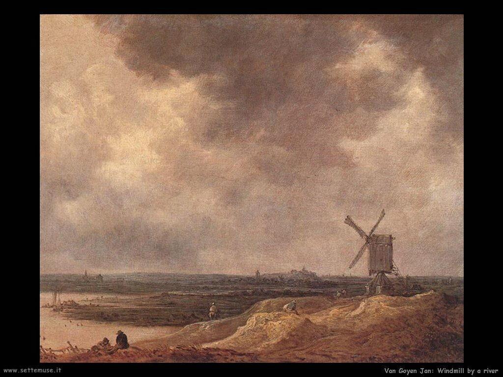 Molino a vento sul fiume Van Goyen Jan