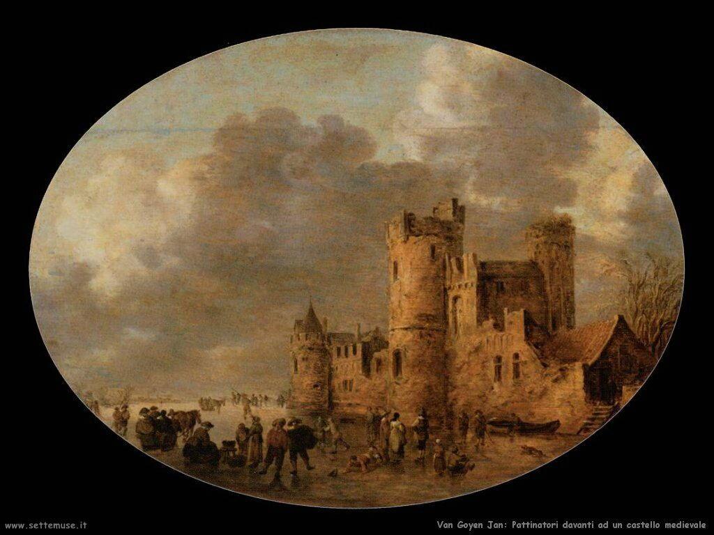 Pattinatori davanti al castello medievale Van Goyen Jan
