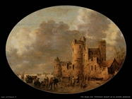Pattinatori davanti al castello medievale Van Goyen Jan
