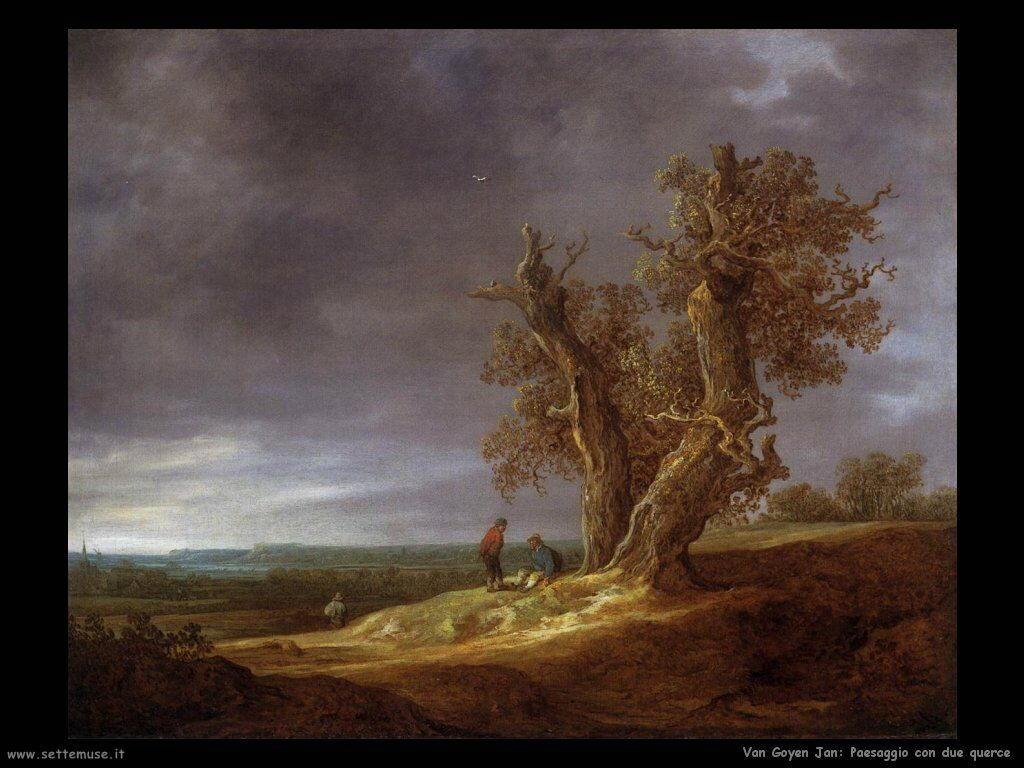Paesaggio con due querce Van Goyen Jan