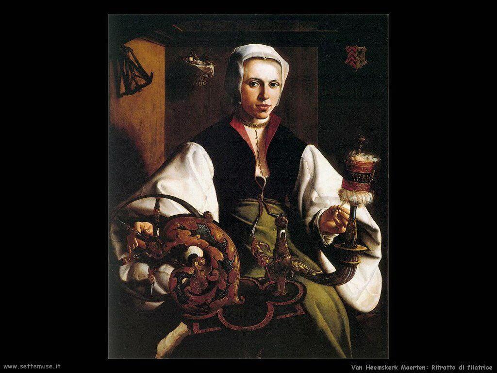 Ritratto di donna che fila Van Heemskerck Maerten