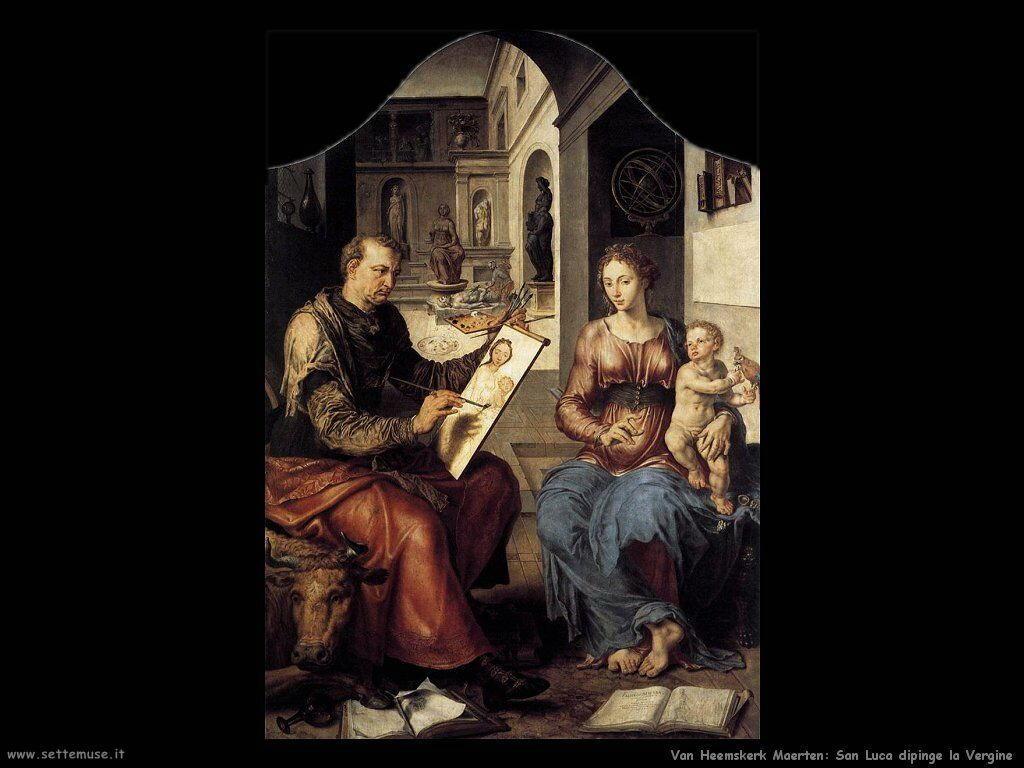San Luca dipinge la Vergine Van Heemskerck Maerten