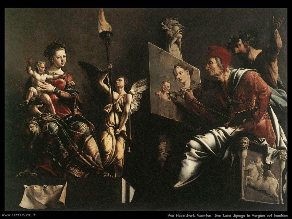 San Luca dipinge la Vergine ed il Bambino Van Heemskerck Maerten
