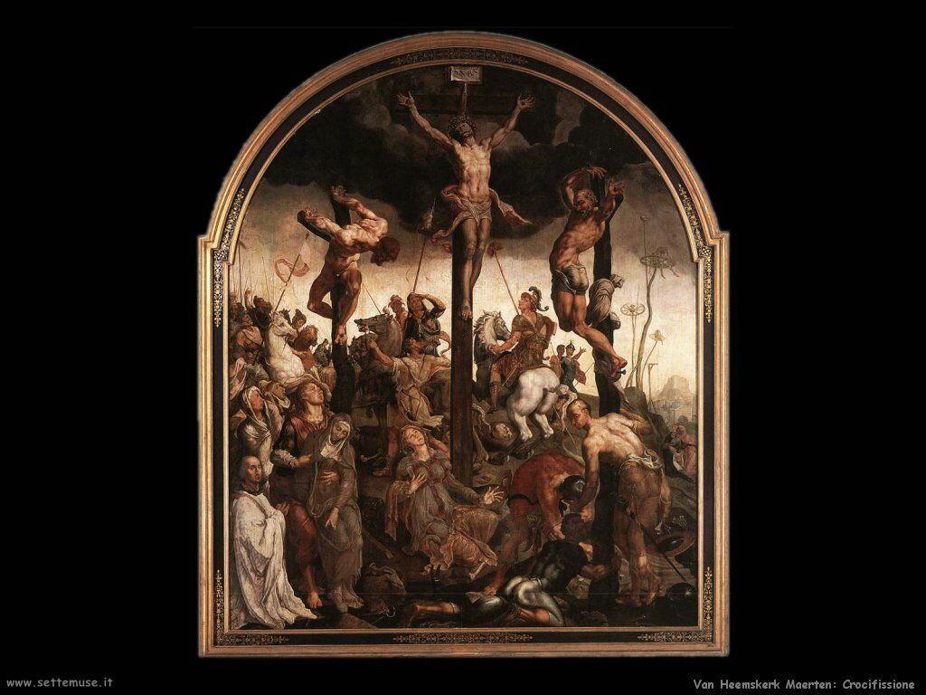 La crocefissione (parte centrale del trittico) Van Heemskerck Maerten