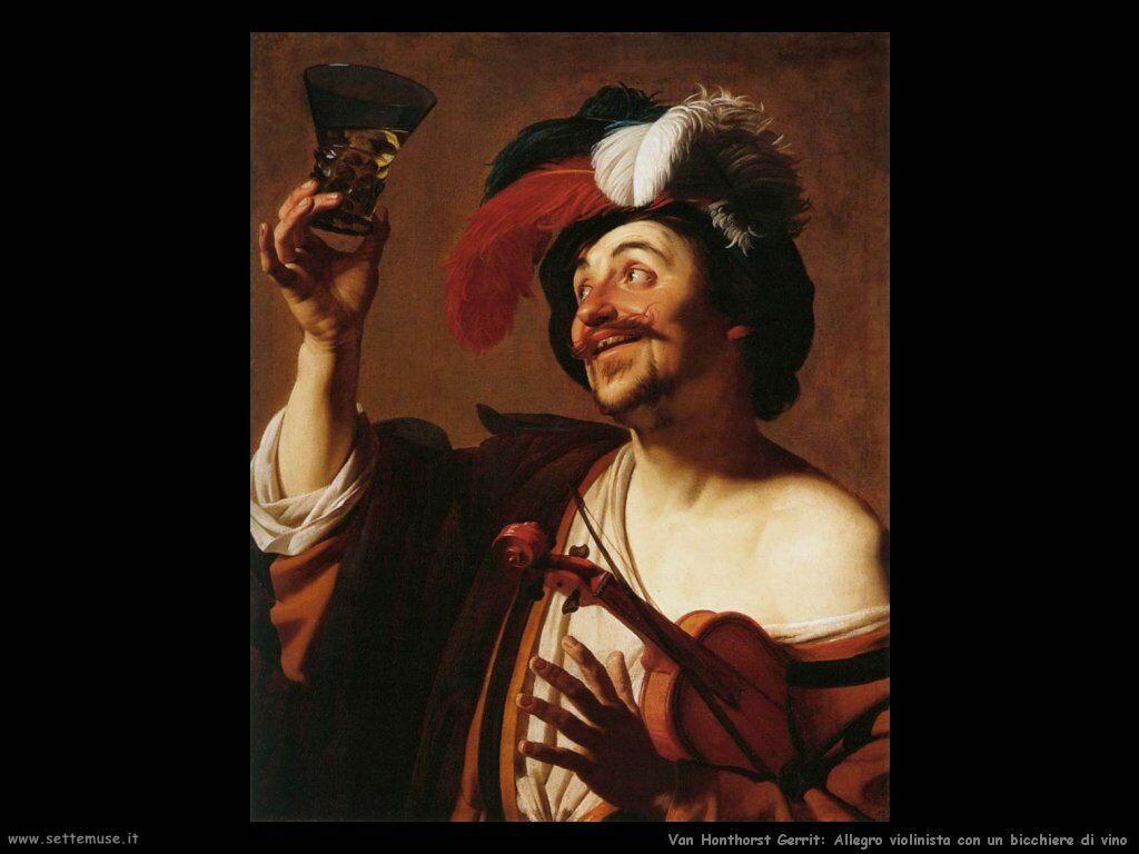 Violinista con un bicchiere  di vino Van Honthorst Gerrit