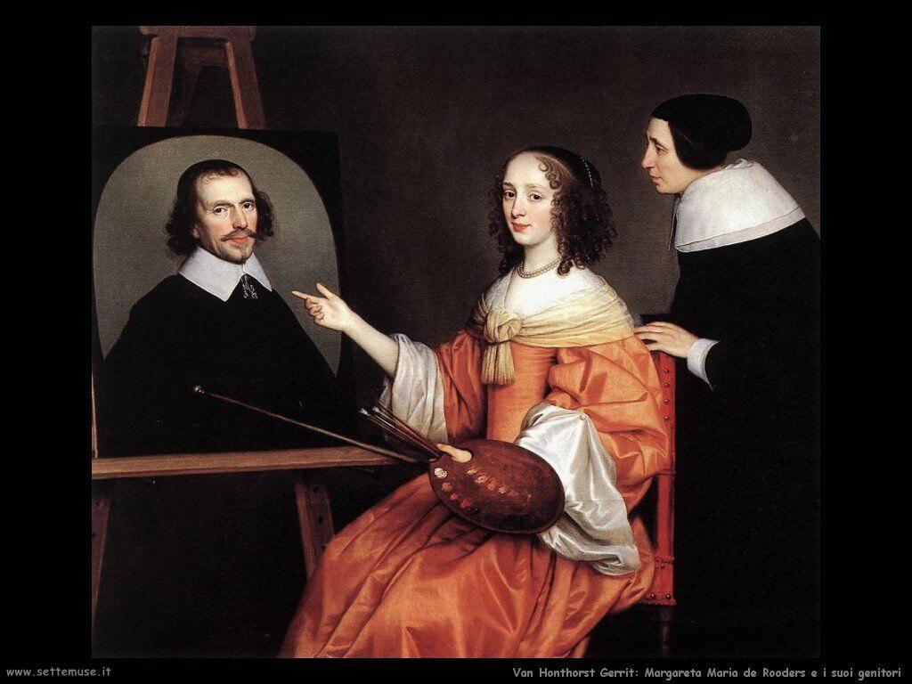 Margareta Maria de Roodere e suoi genitori Van Honthorst Gerrit