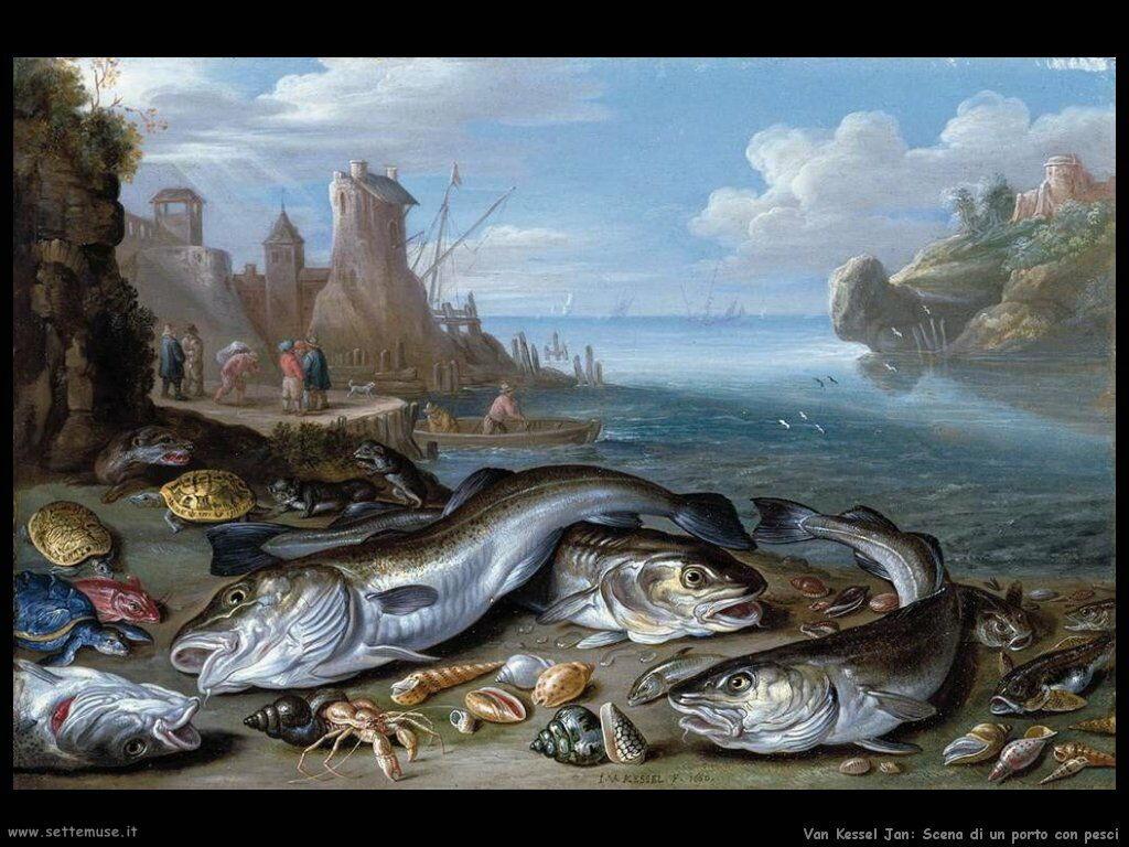 Baia con pesci Van Kessel Jan