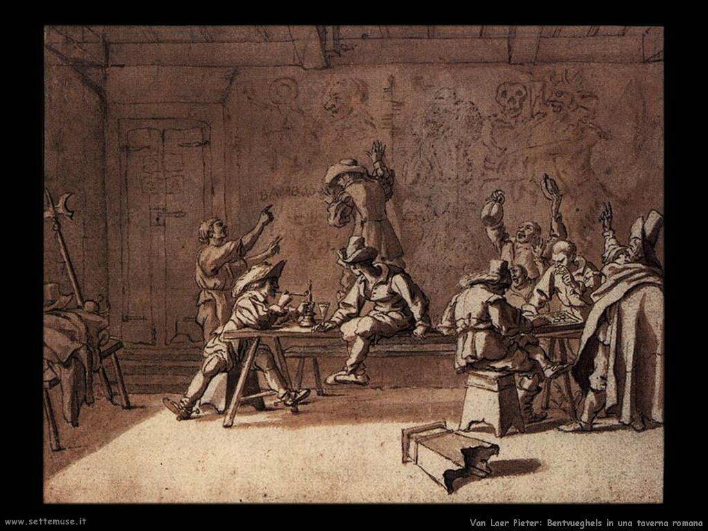 Van Laer Pieter  Bentvueghels in a roman tavern