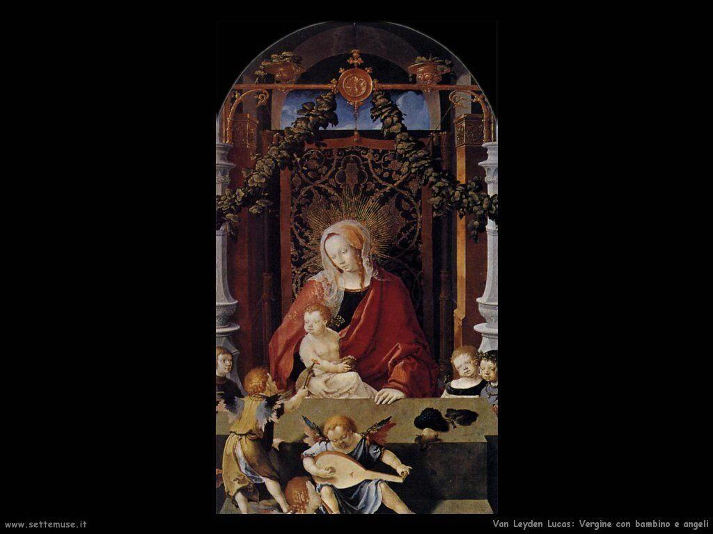 Madonna con Bambino e angeli Van Leyden Lucas