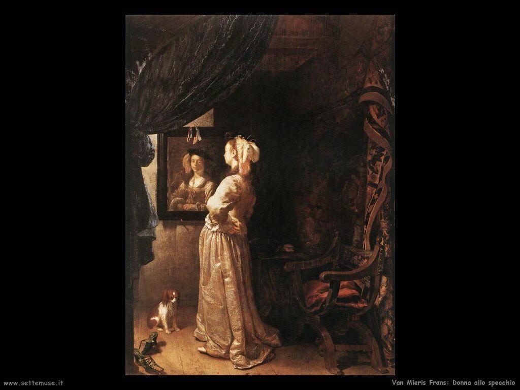Donna allo specchio Van Mieris Frans the younger
