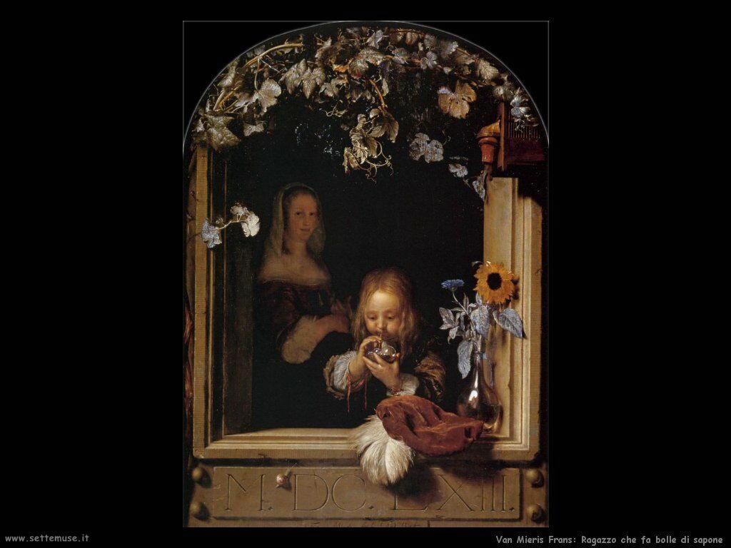 Ragazzo innaffia i fiori Van Mieris Frans the younger