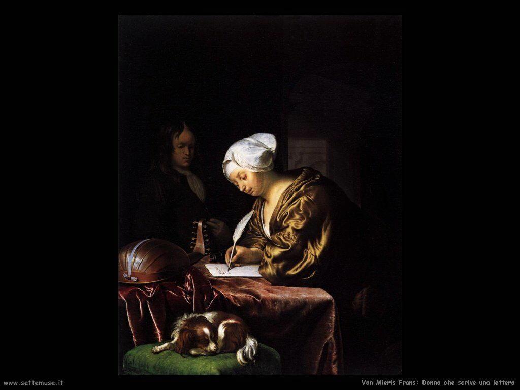 Donna che scrive una lettera Van Mieris Frans the younger