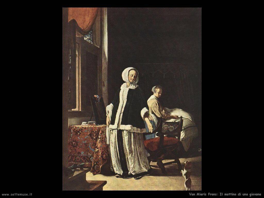 Giovane donna al mattino Van Mieris Frans the younger