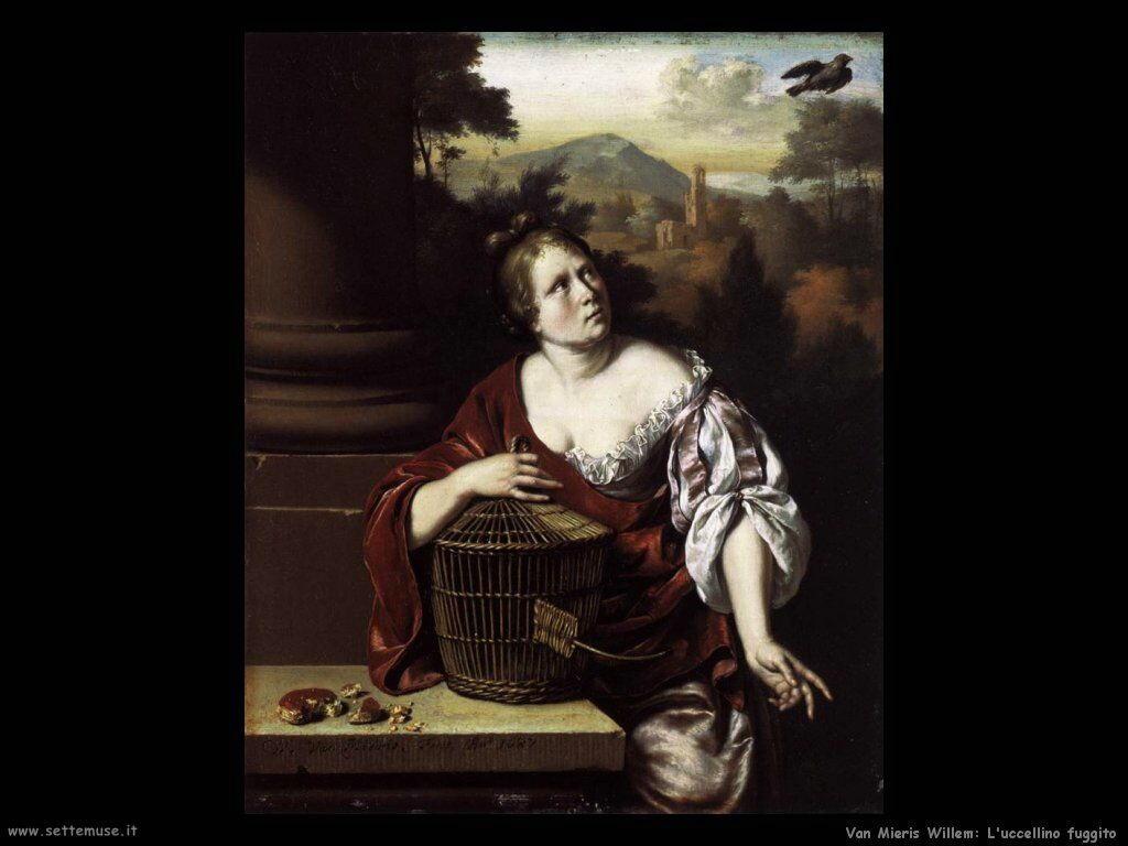 Van Mieris Willem L'uccellino fuggito