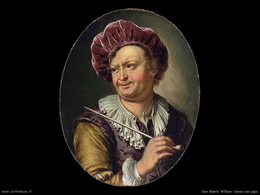 Van Mieris Willem Uomo con pipa