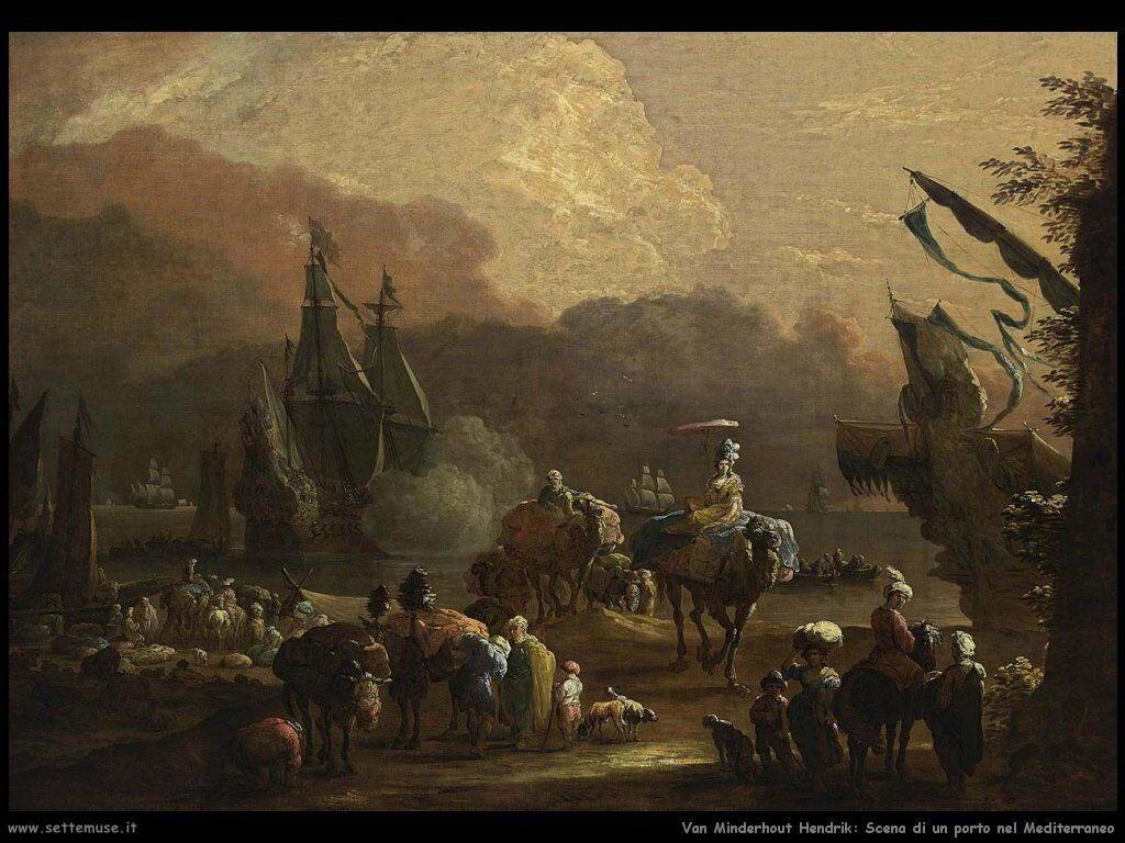 Van Minderhout, Hendrik Scena di porto mediterraneo