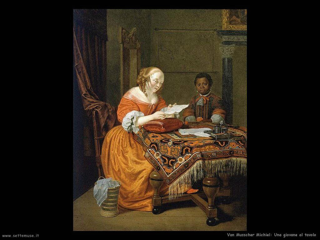Van Musscher, Michiel Una giovane al tavolo