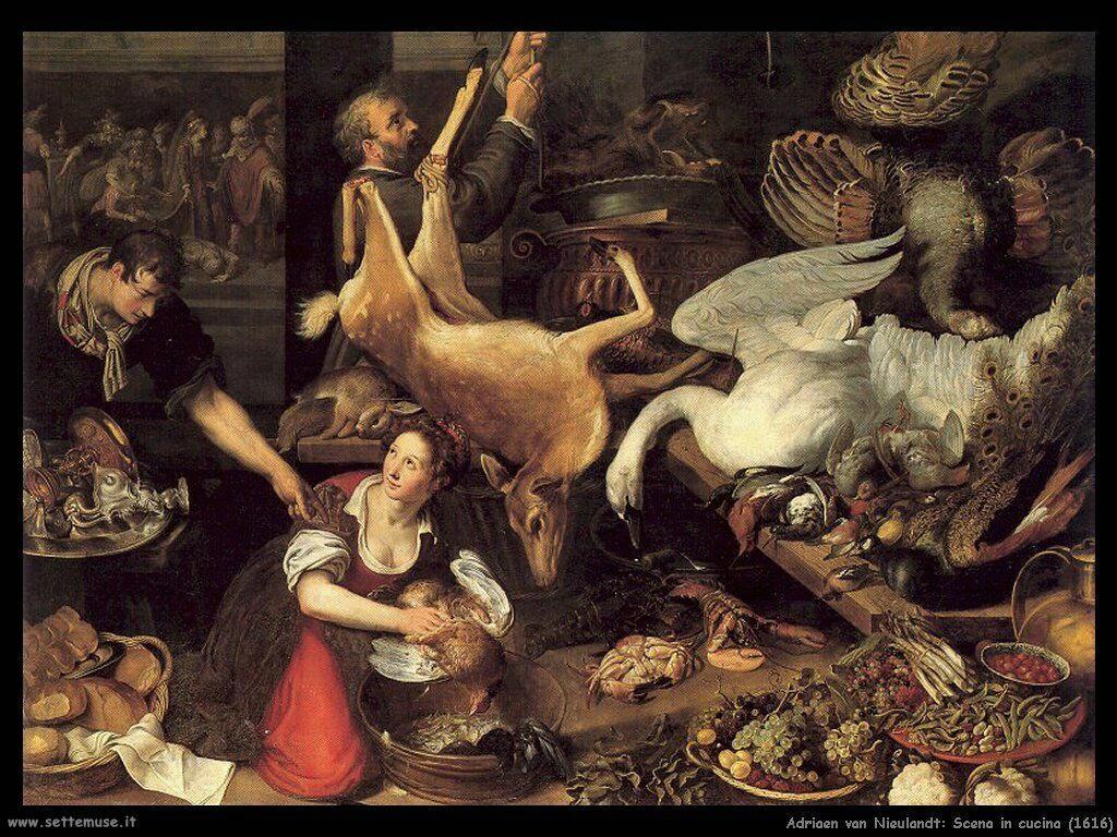 Van Nieulandt, Adriaen Scena in cucina (1616)