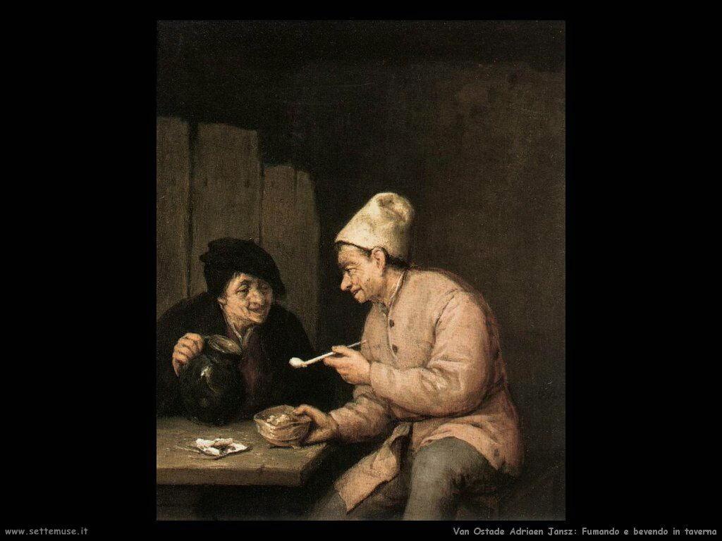 Bere e fumare alla taverna Van Ostade Adriaen Jansz