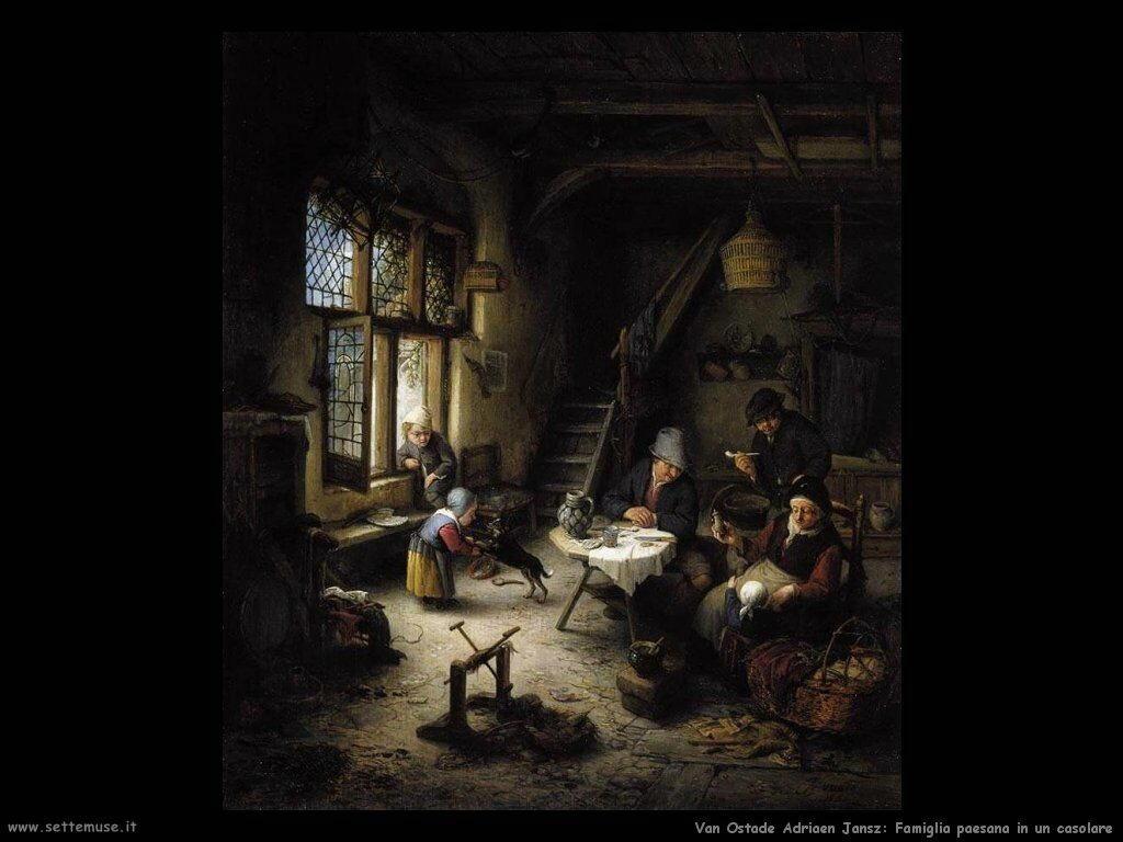 Famiglia di contadini in un casolare Van Ostade Adriaen Jansz