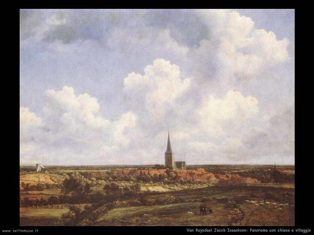 Panorama con chiesa e villaggio Van Ruysdael Jacob Isaackszon