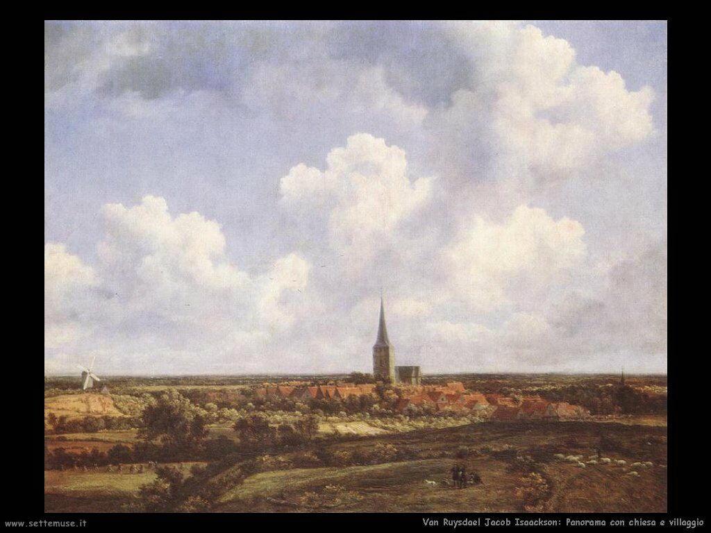 Panorama con chiesa e villaggio Van Ruysdael Jacob Isaackszon