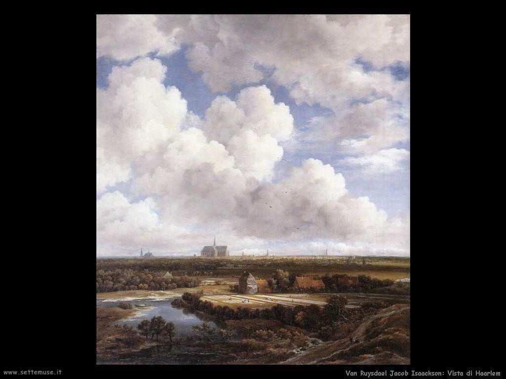 Vista di Haarlem con nuvole bianche Van Ruysdael Jacob Isaackszon
