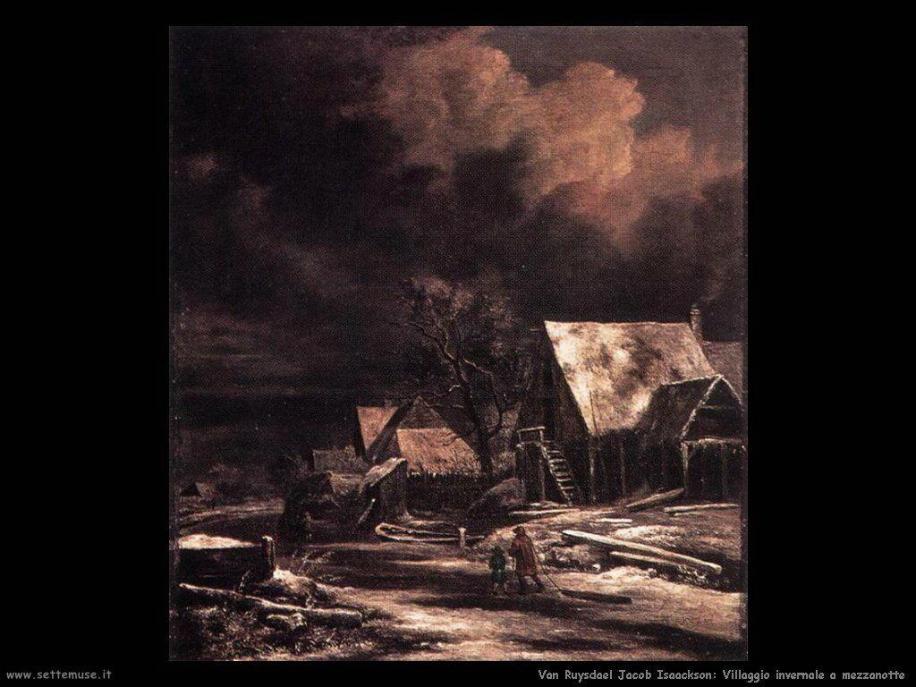 Villaggio in inverno al chiaro di luna Van Ruysdael Jacob Isaackszon