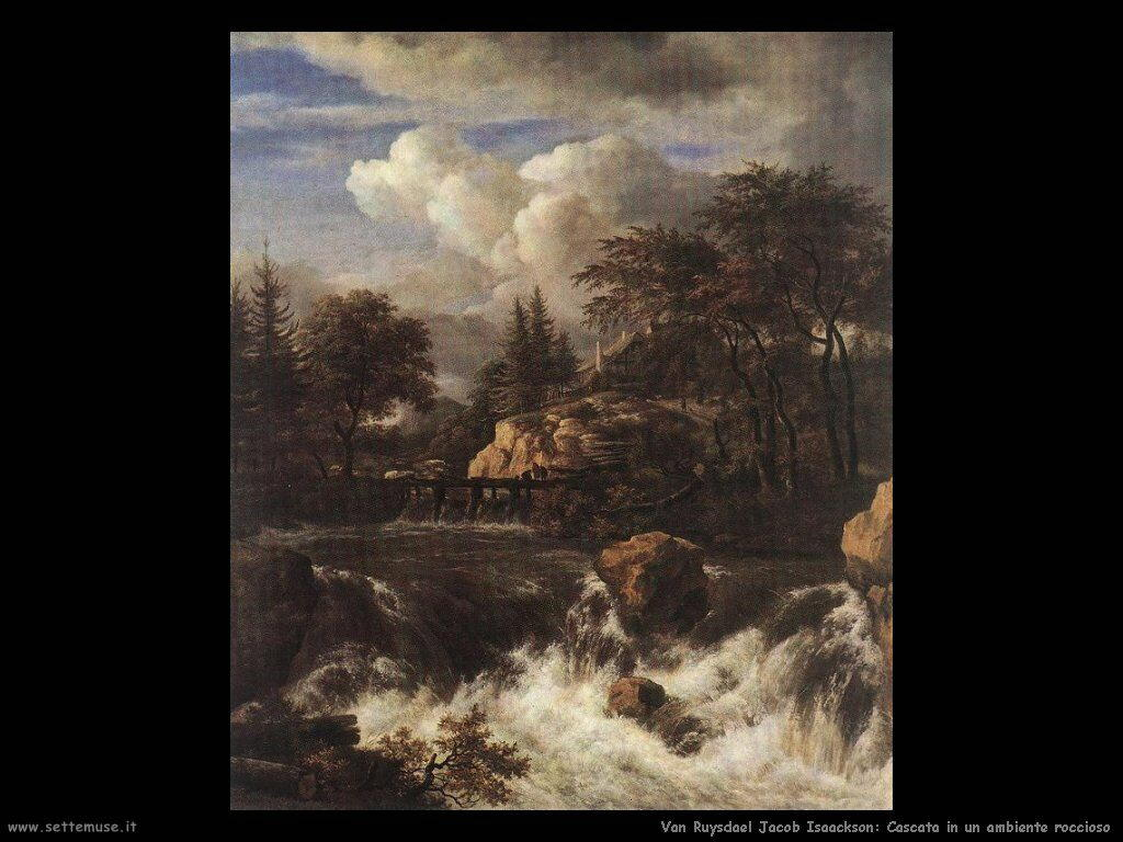 Cascata in un paesaggio roccioso Van Ruysdael Jacob Isaackszon