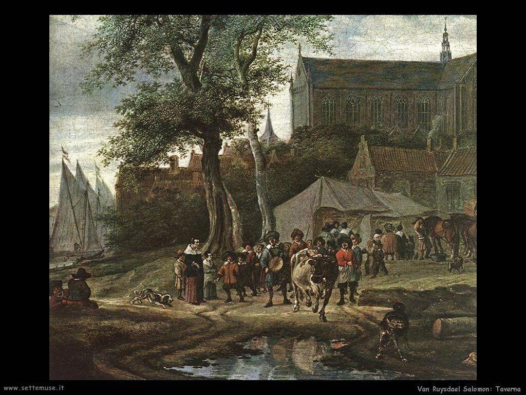 Taverna con albero Van Ruysdael Salomon