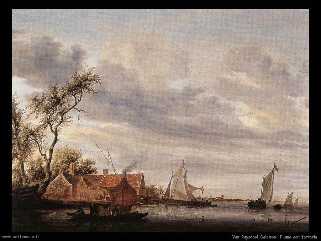 Sciena con fiume e fattoria Van Ruysdael Salomon