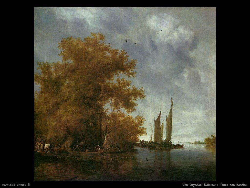 Paesaggio fluviale con barche Van Ruysdael Salomon