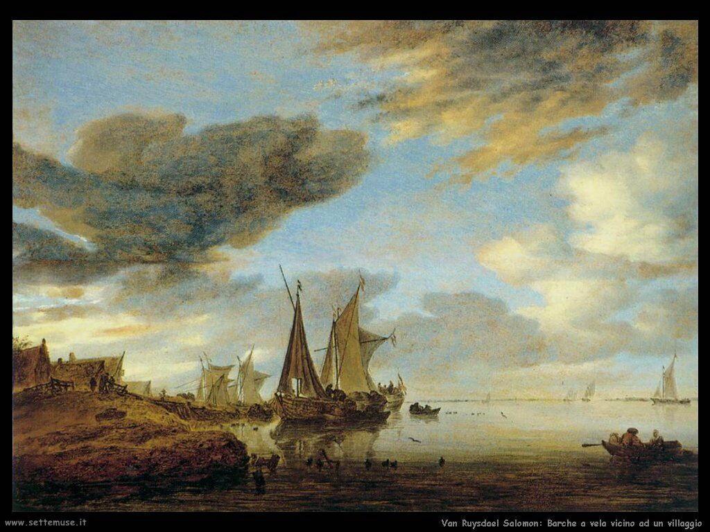Barche a vela vicino al villaggio Van Ruysdael Salomon