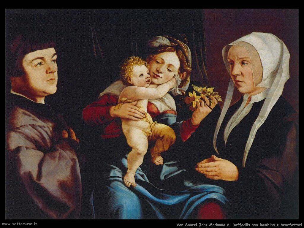 Van Scorel, Jan Madonna di Daffodils con bambino e donatori
