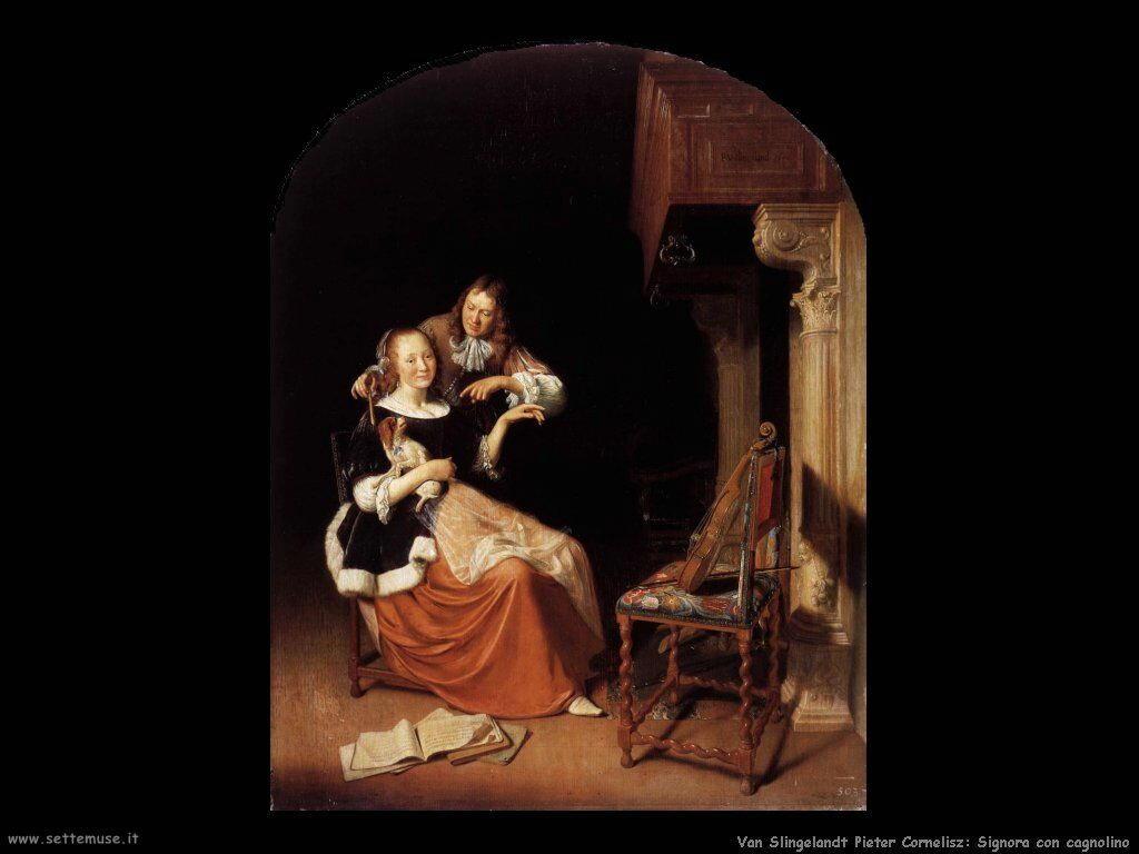 Van Slingelandt, Pieter Cornelisz Signora con cane