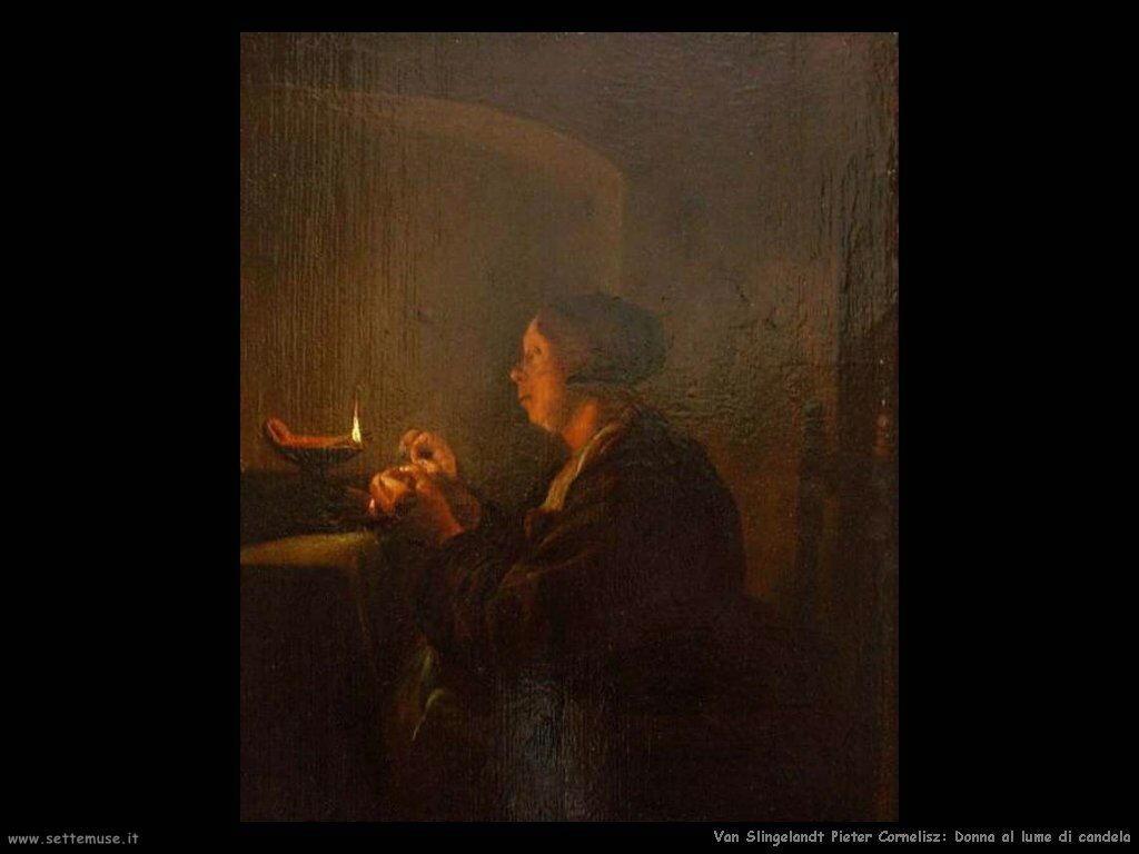 Van Slingelandt, Pieter Cornelisz Donna al lume di candela