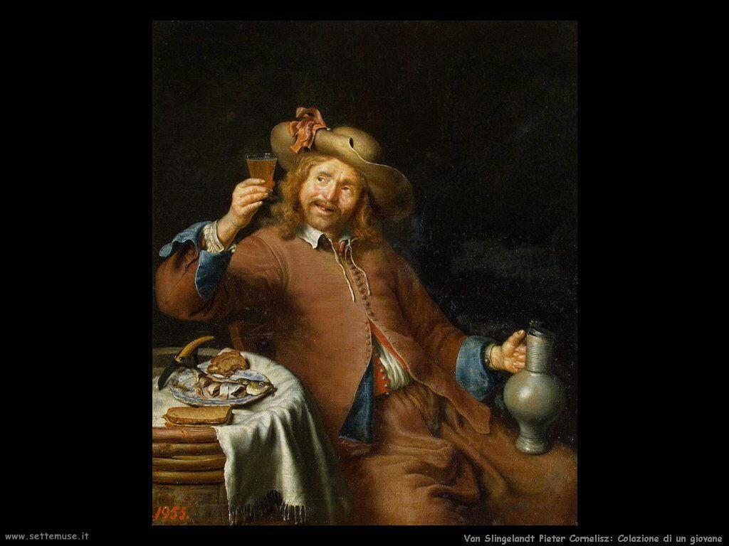 Van Slingelandt, Pieter Cornelisz Colazione di un giovane