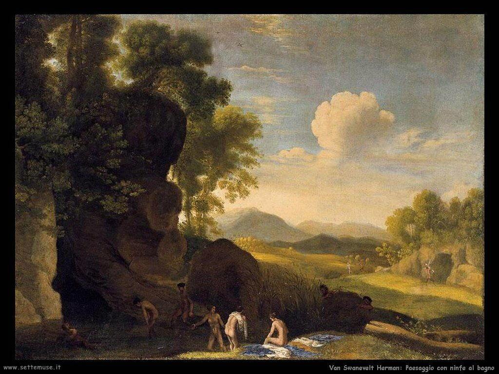 Van Swanevelt, Herman Paesaggio con ninfe al bagno