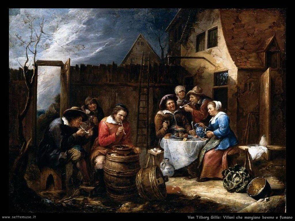 Van Tilborgh, Gillis Villani che mangiano, bevono e fumano