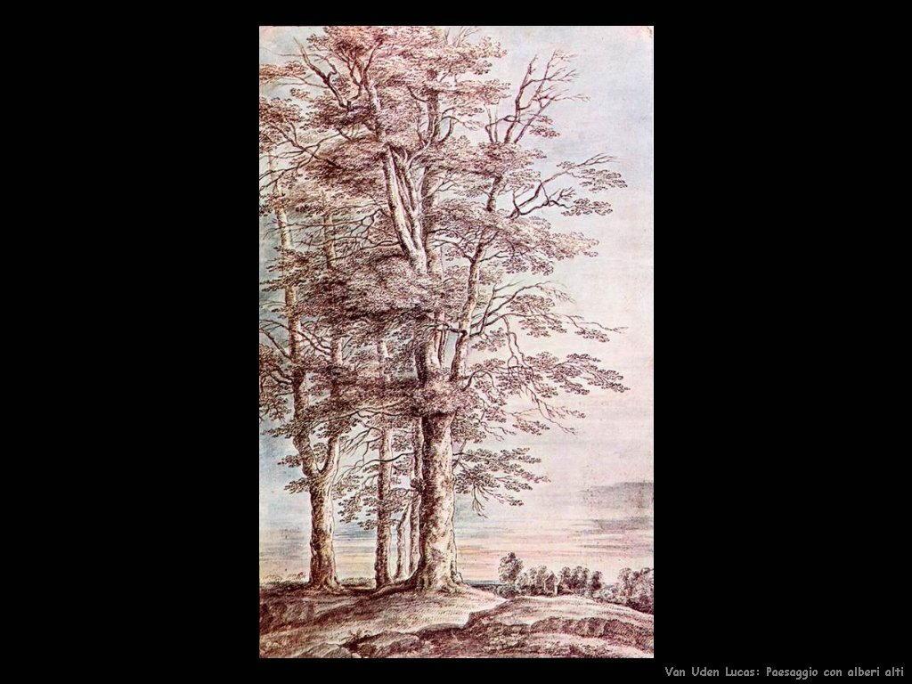 Paesaggio con alti alberi Van Uden Lucas